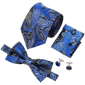 Barry.Wang Hot Sale Bowtie For Men Hanky Cufflinks Set Paisley Tie For Business Wedding Bow Ties Party Men's Male Ties Square