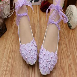 Purple Lace Up Hochzeitsschuhe Cute Kitten Heels schnüren sich Ankle Straps Blumen Brautschuhe Pump Heels 2018 New Heels Fashion