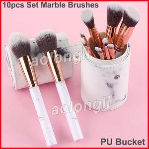 Make-up Pinsel 10er Set Marmor Bürsten + PU Eimer Professional Powder Foundation Blush Make-up Pinsel Lidschatten Pinsel Kit