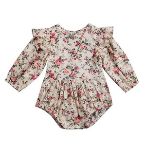 Infant Baby Girl Kids Long Sleeve Floral Printed Jumpsuit Outfits Tutu Party Autumn Bodysuit Girls Holiday Toddler Clothes