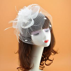 2020 bianco Fascinator Sinamany Cappelli Squisito dell'annata per il matrimonio in chiesa nuziale con fiori netti Pizzo Kentucky Derby Cappelli