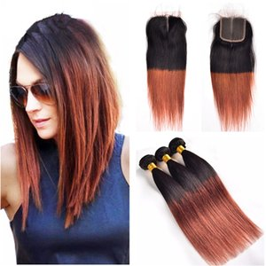 Brazilian Ombre Human Hair Weave3 Bundles With Closure T1b 33 Dark Auburn Straight Virgin Hair Bundles with Lace Closure Free Middle Part