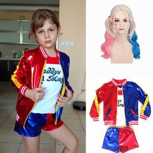 Kids Girls  Quinn Joker Costume  Suicide Squad Cosplay Costumes Halloween Carnival Jacket Wig sets For Children