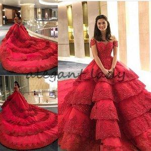 Capilla lujosa Vestidos de novia Vestidos de novia de encaje rojo Tren largo Iglesia castillo Vestido de novia Vestido de compromiso Ilusión Volver michael cinco