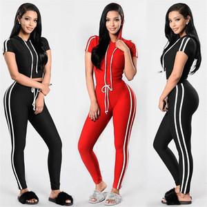 Mulheres Skin Tight Sport Ternos 2 Cores Com Capuz de Manga Curta camiseta com Legging Conjuntos de Slim Fit Treino Branco Listrado Sportswear