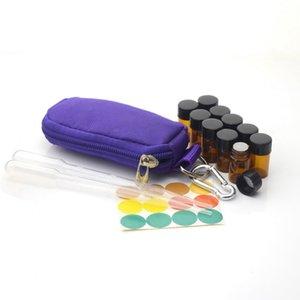 علبة مفاتيح لزجاجة الزيت الأساسية تحمل حقيبة سفر صغيرة تحمل 10 1ml 1/4 Dram 2ml 5/8 قوارير وعلامات فارغة