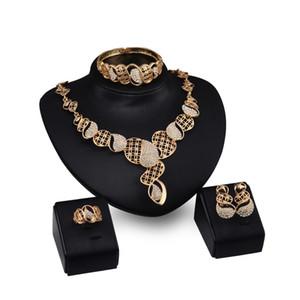 Dubai 18K Gold Pendant Gourd Necklace Sets Fashion African Diamond Wedding Bridal Jewelry Sets (Necklace + Bracelet + Earrings +Ring)