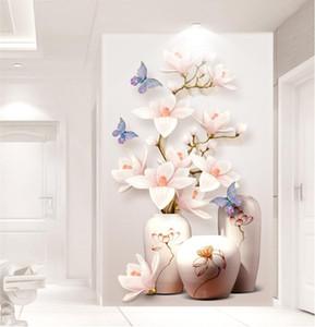 fleurs personnalisés HD Photo Fond d'écran 3D Fleur Murales entrée couloir 3d papier peint Papier peint Décoration Cuisine Salon