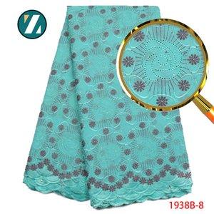 African Lace Fabric Schweizer Voilespitze-Qualitäts-Nigerian Blue Color Cotton Lace Fabric mit gestickten Blumen PGC1938B-2