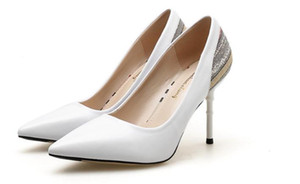 Envío gratis 2018 otoño Patchwork azul moda tacón alto extremo fino Zapatos de tacón fino zapatos de estilo nuevo zapatos de tacón 8cm, 5cm