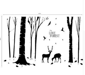 Spedizione gratuita Home Decoration Vinyl Deers in Forest Wall Sticker Rimovibile economici PVC House Decor Alberi e animali Decalcomanie Murales Poster