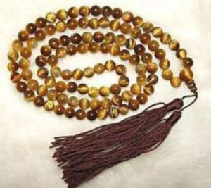 J0035 Tibetan 108 타이거 아이기도 Buddha Bead Necklace 8mm
