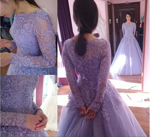 Vintage Lavender Colorful Lace Long Sleeve Evening Dresses Plus Size Beaded Bridal Ball Gowns Vintage Quinceanera Party Dress Sexy