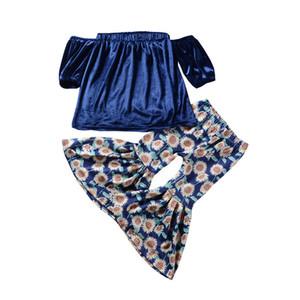 Модули новые девушки футболка комплект детские костюмы с плеча футболка + Дейзи вспышки брюки девушки 2 шт наборы девушка t рубашка брюки одежда