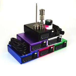 E_nail Kit Dnail Electronic Temperature Controller Kit Portable 6 in 1 Titanium Electric Dab Nail 10mm 16mm 20mm E_nail Kit DHL Free WKQ-03