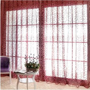 목가적 인 꽃 Tulle Voile Door 스카프 밸런스 Drape Sheer Window Curtain