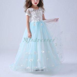 Nueva princesa de colores de manga corta vestidos de niña de flores Sweep Train Girls Pageant Dress Girls Birthday Party Dresses