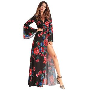 Seksi Bölünmüş Hırka dantel up uzun elbise İlkbahar Yaz 2018 bayan Bohemian Çiçek Elbise flare kol tunikler kırmızı kadın
