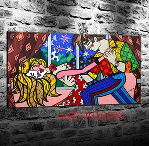 Romero Britto Star Night , Canvas Pieces Home Decor HD Printed Modern Art Painting on Canvas (Unframed Framed)