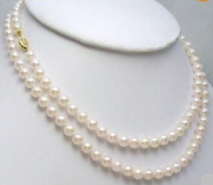 GENUINE 8-9MM AKOYA WHITE NATURAL PEARL NECKLACE 36 INCH 14k
