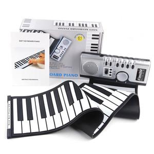 Portátil de 61 teclas de piano flexible de silicona electrónica digital Roll Up suave teclado de piano para los niños del regalo de cumpleaños de la novedad artículos GGA898