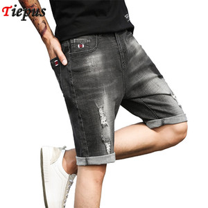 Ripped Hole Denim Shorts Men Summer Black Grey Distressed Bermuda Jeans Male Embroidery Logo Designer Young Men Short Hot Shorts