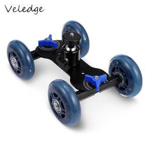 venta al por mayor de cuatro ruedas Video Rail Track Slider Dolly Car con Ball Head para DSLR Cámara Videocámara Wheeler Steadicam Stabilizer