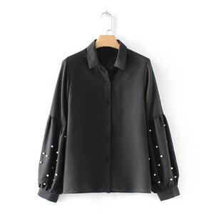 MOARCHO Vintage Perle Perline Camicie nere 2018 Primavera Donna Lantern Allentato Camicetta a maniche lunghe Casual Donna Top Blusas Abbigliamento