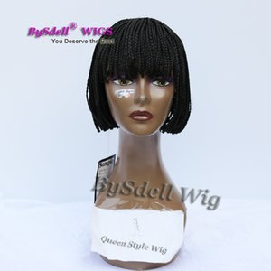 New Arrival Cheap Short Braids wig with neat bangs synthetic black 3x braids wig Full Hand tied braided none lace front wigs for black women