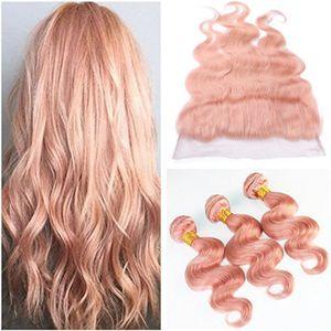 Новое прибытие розовый цвет человеческих волос расслоение сделок 3 шт. с кружевом фронтальной 4 шт. Много объемная волна 13x4 полный кружева фронтальная закрытие с ткет