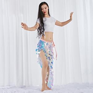 Новая Мода Женщины Танец Живота Носить Спандекс Эластичные Одежда Многоцветный Squama Над Юбкой Блестки Хип Шарф