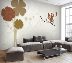 Custom Photo Mural Wallpaper 3d Luxury Gold Jewellery Flower Clover Mariposa TV Wall muarl Home Decorative Wall paper