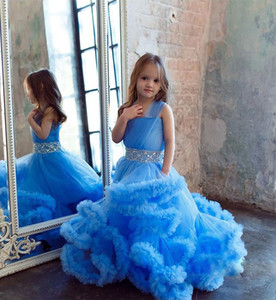 Cloud Flower Mädchen Kleider für Hochzeit Kinder Festzug Kleid Erstkommunion Kleider für Little Baby Party Prom Dress 2018