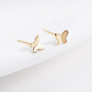 Saf 925 Ayar Gümüş 18 K Yelllow / Gül / Beyaz Altın Kaplama Sevimli Mini Küçük Kelebek Piercing Damızlık Küpe Kadınlar için ...