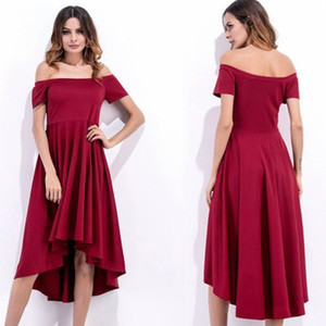 Autumn fashion women's new tube top word collar short short length irregular waist sexy dress solid color high waist dress