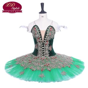 Mujeres Dark Green Ballet Tutu Don Quijote Performance Stage Wear Adulto Ballet Dance Competencia Disfraces Chicas Ballet Falda Apperal