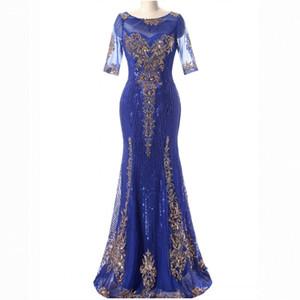 Vraies Photos Élégantes Paillettes Longue Bleu Robes De Bal Étage Longueur Demi Manches Zipper Robes De Soirée Sur Mesure En Stock
