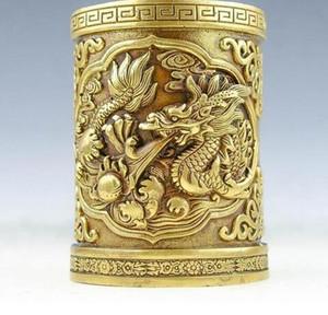 China Dragón de latón puro Dragon Dragons Pen contenedor cepillo Pot lápiz jarrón estatua