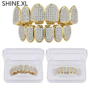 Anelli in argento placcato oro con denti di vampiro Grillz Top e fondo in ghiaccio con micro pavé di pietre placcate CZ