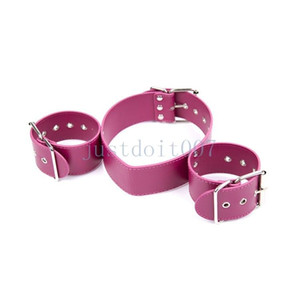 Handcuffs Cuffs Restraints Neck Collar WRIST harness leather slave roleplay fun #R56
