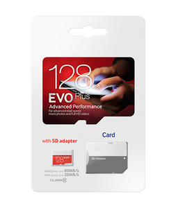 White EVO Plus + 32GB 64GB 128GB 256GB C10 TF Flash Memory Card Class 10 Free SD Adapter Retail Blister Package Epacket DHL Free Shipping