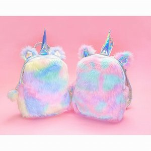 Plush Unicorn Hologram Mochilas Mulheres Mini Mini Bolsa de Ombro Kawaii Lolita Kawaii Estudante Mochila de Pele De Arco Íris com Bonito