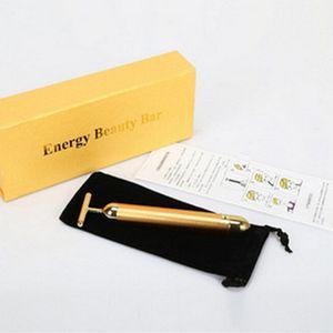 Hot Energy Beauty Bar 24 K Gold Pulse Raffermissant Masseur Facial Masseur À Rouleaux Beauty Care Vibration Massage Du Visage Électrique