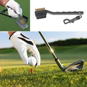 Mini Çift Yan Golf Pirinç + Naylon Golf Kulübü Başkanı Oluk Temizleyici Fırça Temizleme Aracı Kiti ile Askı Golf Accessoriesprops