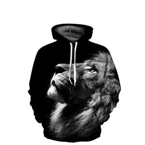 Hoodies Lion 3D Impression Numérique Hommes Hoodies Sweatshirts 2018 À Manches Longues Casual Pullover Automne Survêtements Harajuku