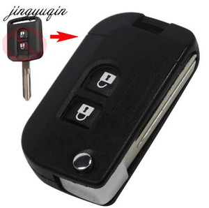 Jingyuqin Flip Remote Key Coquille Coque Car Coque Coque FOB pour Nissan Qashqai Primera Micra Navara Almera Note Sunny 2 boutons