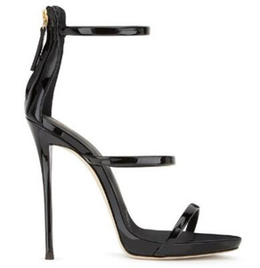 2018 donne calde di vendita di colore solido banda stretta open toe scava fuori sandali moda estate posteriore cerniera alto vestito dal tacco sottile pompe
