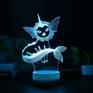 Vaporeon 3D Lampe RGB changeable Mood Lamp 7 Couleur Lumière Cool Base Veilleuse vacances de Noël Enfants Cadeaux