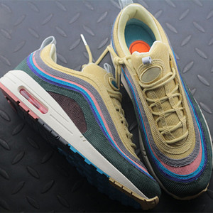 2018 Brand New 97 Sean Wotherspoon Uomo Donna Running Shoes Top 97s Donna Vivid Sulphur Multi Giallo Blu Hybrid Scarpe sportive