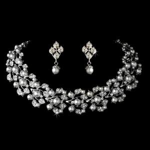 우아한 로듐 실버 톤 크림 진주 라인 석 크리스탈 Diamante 목걸이 귀걸이 꽃 신부 보석 세트 빈티지